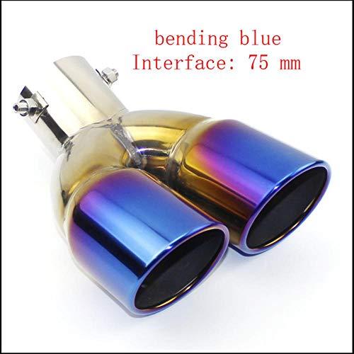 Miner uitlaatpijpdemper uitlaatpijp uitlaat mondstuk einde Universeel roestvrij staal glad einde één verandering twee dubbele, buigen blauw 75 MM