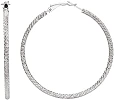 Ellen Tracy Sterling Silver Diamond Cut Omega Hoop Earrings