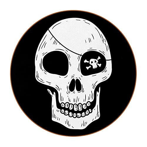 Drink Coasters Set of 6, Super Value Pack, Protection Tabletop, Modern Non Slip Microfiber Leather Mat Fit Drinking Glass Coffee Pirate Skull