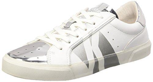 BIKKEMBERGS Damen Rubb-Er 670 L.Shoe W Leather/Shiny S.Leather Pumps, Elfenbein (White/Silver), 36 EU