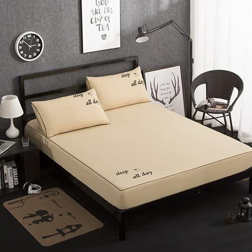 JNMG Sábana bajera para cama con somier, monocolor, sábana bajera de microfibra, suave funda de colchón para cama Sche, sábana bajera ajustable hasta 30 cm (1,180 cm x 220 cm)