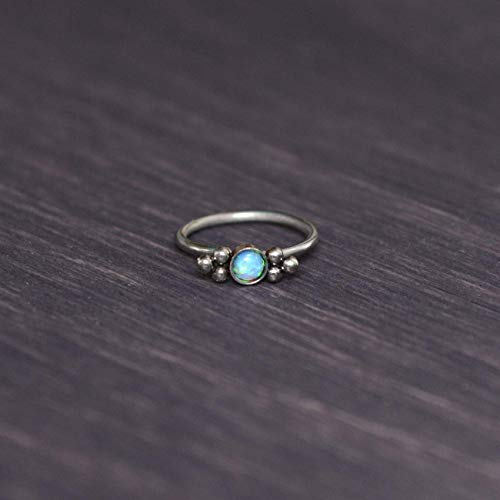 Stainless Steel Nose Ring with Opal Stone - Nose Jewelry