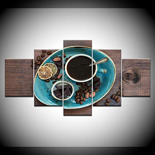 HSDVJZC HD-druk 100 ×55 cm canvas schilderij koffie koffiebonen chocolade 5 stuks wandkunst modulaire poster print woonkamer huisdecoratie