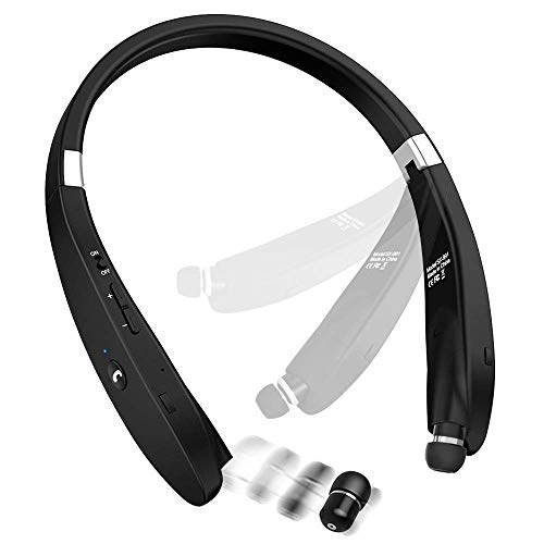 Foldable Bluetooth Headphones Retractable Earbuds Neckband Design Wireless Headset with Noise Cancelling Sweatproof for Sports & Exercise Earphone (with Carry Case)