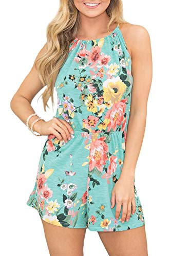Womens Sleeveless Halter Short Pants Romper Beach Cotton Boho Floral Jumpsuit Green XL