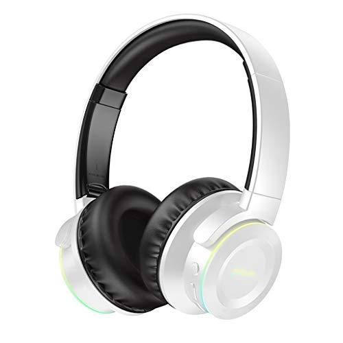 Cascos Bluetooth sobre Auriculares de Oreja Auriculares con Graves Profundos con Auriculares Plegables de Carga Rápida de Micrófono Incorporado Toque de Huella Digital Auriculares (Color : White)