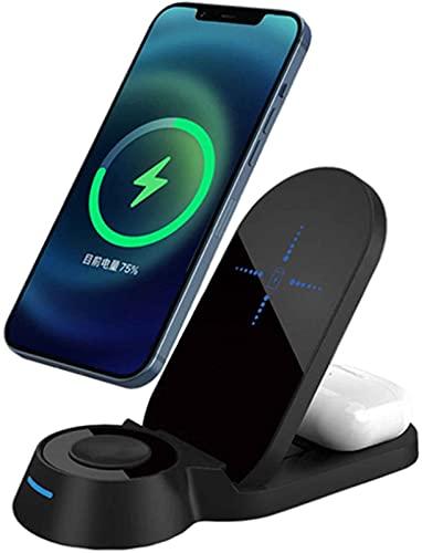 Kettles Qi Soporte de Carga inalámbrica 3 en 1 Estación de Carga 15W Muelle de Cargador inalámbrico rápido Compatible con Apple Watch y iPhone Otro teléfono Qi habilitado