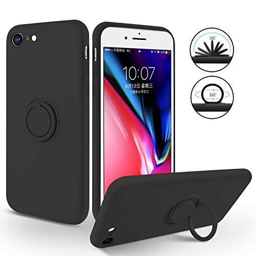 SouliGo Funda para iPhone SE 2020, iPhone 7/8, funda de gel de silicona fina con soporte de anillo de 360 grados, estable, resistente a los arañazos, funda para iPhone 7/8/SE 2020, color negro