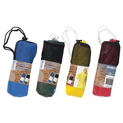 Unbekannt 2 x Regenponcho Regenjacke bunt mit Kapuze/wasserdicht/mehrere Farben - Notfallponcho - Regencape
