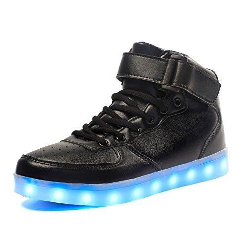 Voovix Kinder High-top LED Licht Blinkt Sneaker mit Fernbedienung-USB Aufladen Led Schuhe für Jungen und Mädchen(Schwarz, EU39/CN39)