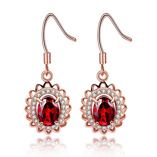 Uloveido Pendientes de granate rojo ovalado de plata de ley 925 para niñas, pendientes de piedras preciosas colgantes chapados en oro rosa para mujer FR060