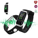 MEETYOO Fitness Armband, Aktivitätstracker mit Pulsuhren Schrittzähler Blutdruck Anruf/SMS Mahnung Wasserdicht Smartwatch für IOS und Android Fitness Tracker Uhr Sport für Herren Damen Kinder