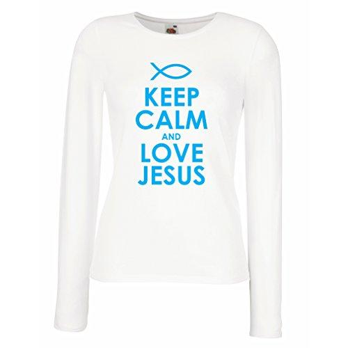 Weibliche Langen Ärmeln T-Shirt Liebe Jesus Christus, christliche Religion - Ostern, Auferstehung, Geburt Christi, religiöse Geschenkideen (Large Weiß Blau)