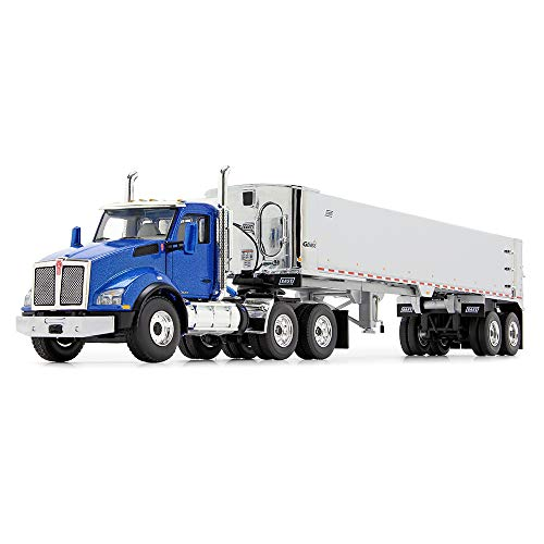 First Gear 1/50 Scale Diecast Collectible Surf Blue/Chrome Kenworth T880 with East Genesis End Dump Trailer (50-3451)