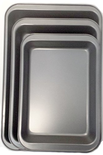 Signature Bakeware 3-pc Deep Dish Set - Grey/black - Cooking and Baking Kitchen Tool -Eco-friendly FDA Certified Food Safe Material - Heavy Duty Construction with Nonstick Metallic Finish - All Dishwasher-safe Parts