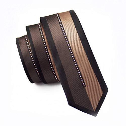 WOXHY Herren Krawatte Mode Schlanke Krawatte Schwarz Patchwork Braun Dünne Schmale Gravata Seide Jacquard Gewebte Krawatten Für Männer Hochzeit Bräutigam Hh-121