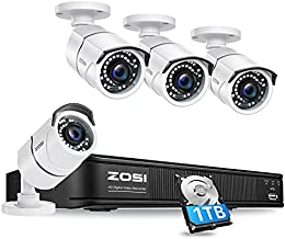 ZOSI Full 1080p H.265+ Security Camera Security System, 5MP Lite 8 Channle 4-in-1 CCTV DVR Recorder with 1TB Hard Drive and 4 x 1080p Surveillance Bullet Camera Outdoor Indoor with 120ft Night Vision