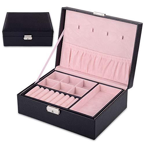Kendal 2 Trays Black Leather Travel Jewelry Box Case Storage Organizer with Lock LJT004BK