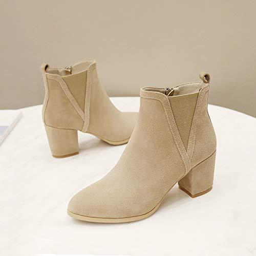 Shukun enkellaarzen kleine hak laarzen Women'S dik met lente en herfst Martin laarzen korte buis enkele laarzen hoge hakken kinderen