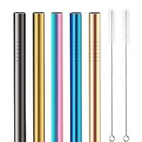 yangte - cannucce boba in acciaio inox, 5 pz, extra large (12 mm), riutilizzabili, ideali per tè e frullati bubble & boba, cannucce in metallo multicolore