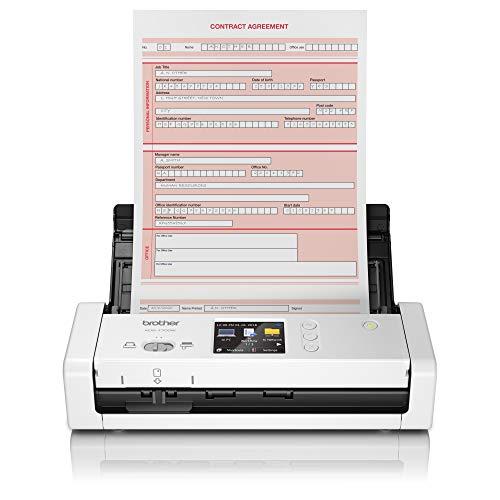 Brother ADS-1700W - Escáner departamental Compacto y Potente (hasta 25hpm, resolución óptica hasta 600 x 600 PPP, Ranura para Tarjetas plásticas de identificación) Blanco