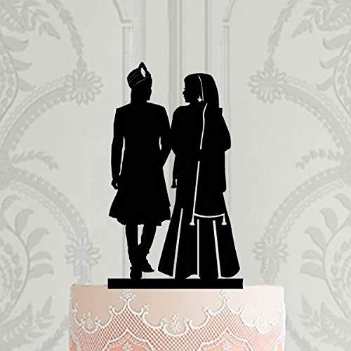 Decoración para tartas hindú para tarta de boda hindú, silueta de novia y novio sij, decoración para tartas de boda de Pakistán, decoración personalizada para tartas, cumpleaños de boda