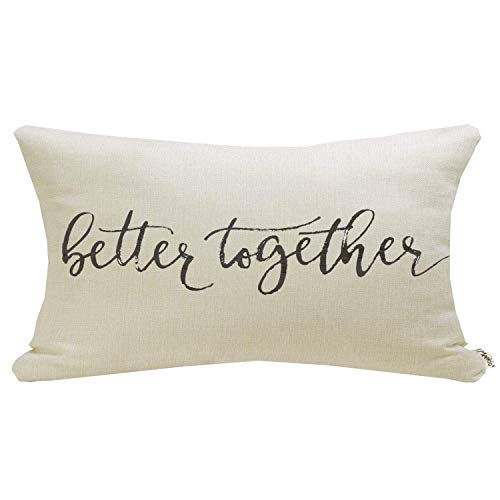 """Meekio Farmhouse Pillow Covers with Better Together Quote 12"""" x 20"""" Farmhouse Rustic Décor Lumbar Pillow Covers with Saying Housewarming Gifts Family Room Décor"""