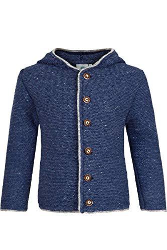 Isar-Trachten Jungen Kinder Trachten-Strick-Janker mit Kapuze Jeansblau, Jeans (blau), 140