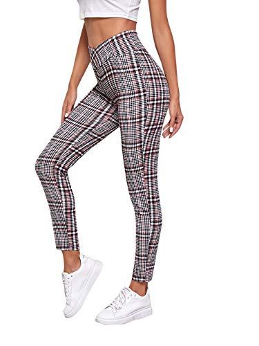 SOLY HUX Pantalones de cuadros para mujer, ajustados, informales, informales, para oficina, a cuadros, con cintura elástica Color burdeos y blanco. S