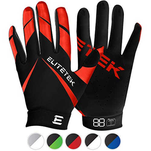 EliteTek RG-14 Football Gloves Youth and Adult (Red, Adult XL)