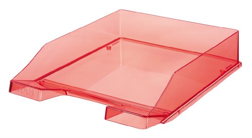 HAN Briefablage KLASSIK, DIN A4/C4, stapelbar, stabil, transparent-rot