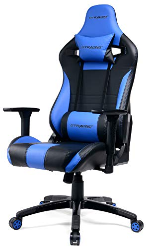 GTracing Gaming Chair Racing Style Recliner Seat Height Adjustment Computer Office Chair with Pillows GTF83 (Blue) blue chair gaming