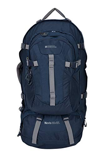Mountain Warehouse Sac à Dos Nevis Extreme - Sac à Dos réglable 55 + 15L, Sangles Multiples, Housse de Pluie & de vol, Sac de journée détachable - Voyages, Camping Bleu Marine Taille Unique