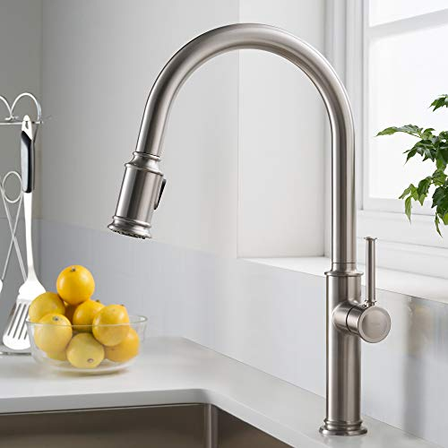 Kraus KPF-1680SFS Sellette Single Handle Pull Down Kitchen Faucet with Dual Function Sprayhead, 17.63, Spot Free Stainless Steel