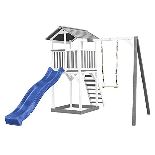 AXI Beach Tower, torre giocattolo in legno, colore bianco e grigio, casetta per bambini con scivolo blu, altalena e sabbiera, casetta per il giardino