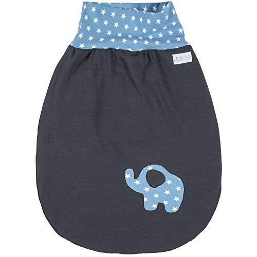 Annsfashion Schlafsack Strampelsack Pucksack LILAKIND Frühling/Sommer Elefant Grau Hellblau Sterne 0-6 M