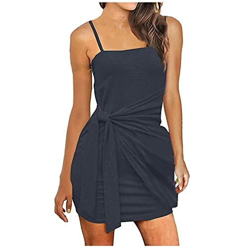 Sommerkleid Damen Elegant T-Shirt Kleid mit Twist Lässig Freizeitkleid ärmellos Basic Kleider Einfarbig Casual Rundhals Dress Tunika Kleid Rundkragen Kurz Shortkleid