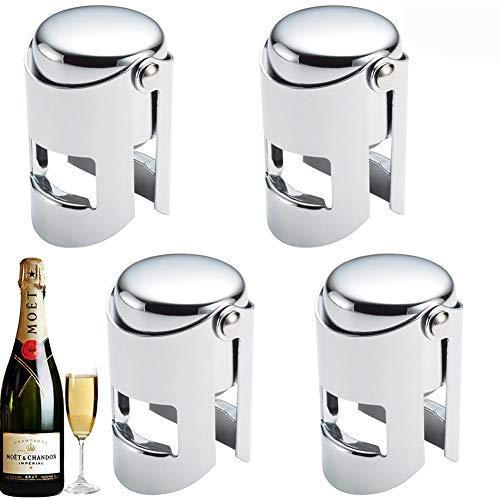 Champagne Tappo Vino, BETOY 4 pezzi Tappo per Champagne in Acciaio Inox Seal Scintillante Saver Tappo di Champagne e Vino Spumante, Argento