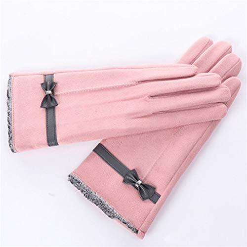 Huasho Nette Bogen-Veloursleder-Touch Screen Damen-Winter-Handschuhe warm Plus Samt-Normallack-wildes Fahren im Freien, das warme Handschuhe reitet,B Pink