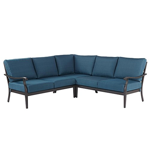 Hampton Bay Riley 3-Piece Metal Outdoor Sectional Set with Charleston Cushions