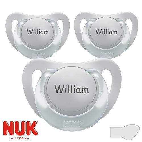 NUK Starlight Namensschnuller, Silikon, Größe 1, 0-6 Monate, 3 Stück Schnuller mit Namen, grau