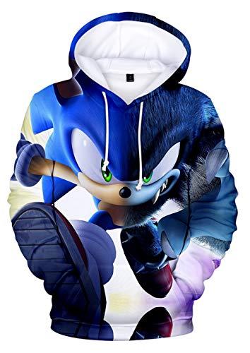 JOAYIN Kinder Sonic Sweatshirt Sonic The Hedgehog Kapuzenpullover Trendiger Mode Hoodie mit 3D-Digitaldrucks für Jungen und Mädchen(2XS)