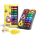 DOOLY Crayones de Cera no tóxicos con Forma de Anillo de 12 Colores para niños pequeños, Herramienta de Dibujo de Pintura Segura y Lavable