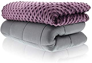 Sonno Zona Weighted Blanket Adult Size - Blanket with Cover Included - Plum 48x72 inches 15 Pound - Blankets Made from Relaxation Sleep Fabric for Natural Calm