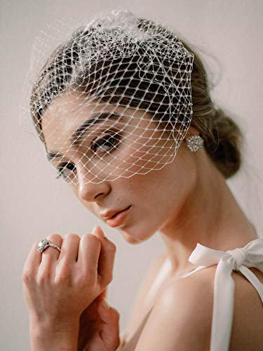 Unsutuo Bride Wedding Birdcage Veil Short White Lace Bridal Veil with Comb for Women