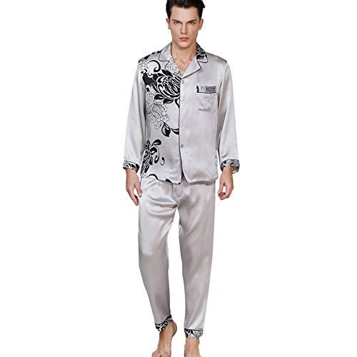 LZJDS Herren-Pyjama-Set, langärmelig, Nachtwäsche, Knopfleiste und Hose, klassisch,...