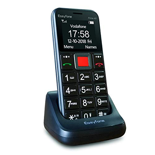 Easyfone Prime-A5 Unlocked Sim-Free Senior Mobile Phone, Big Button Easy-to-Use GSM Cell Phone for Elderly with Charging Dock