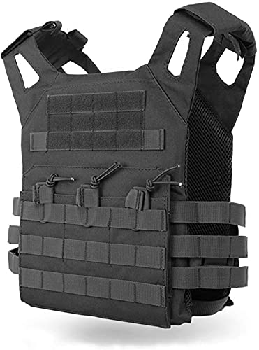 TACWINGS Tactical Vest Modular Lightweight Durable Tactical Gear, Adjustable Ultra-Light Breathable Protection Vest for Outdoor Paintball Training - Black