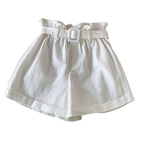 Mymyguoe Suelta Transpirable Comodidad Pantalones Cortos de Entrenamiento con cordón para Mujer, Talla Grande, con Bolsillos Mujer Pantalones Cortos Vaquero Moda 2021 Casual Verano Algodon Shorts