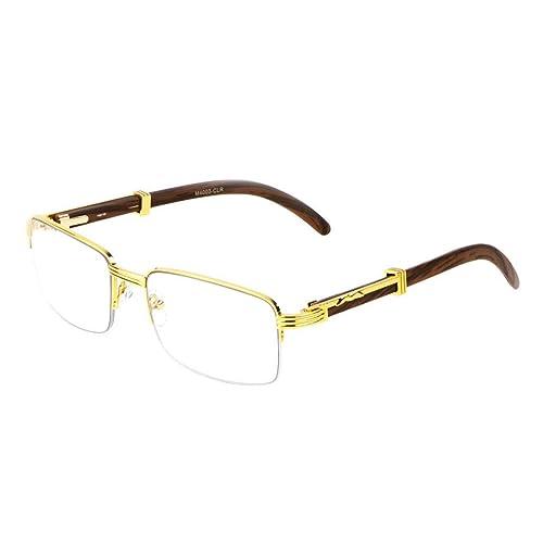 b36390075 Executive Half Rim Rectangular Metal & Wood Eyeglasses / Clear Lens  Sunglasses